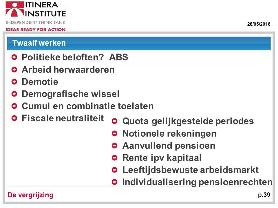 28/05/2016 De vergrijzing p.39 Twaalf werken Politieke beloften.