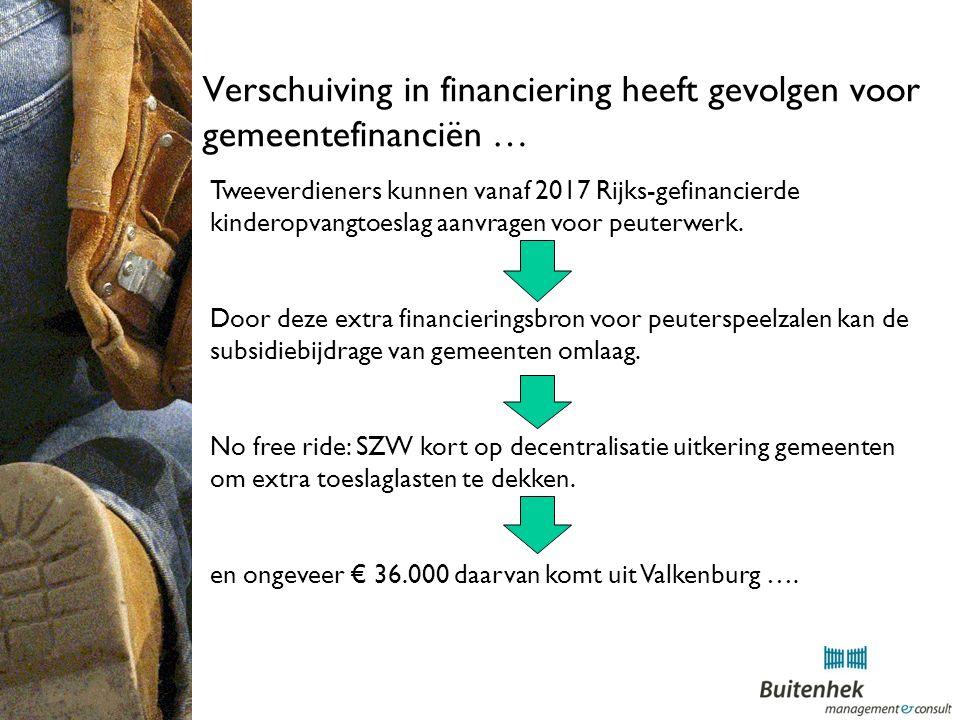 Verschuiving in financiering heeft gevolgen voor gemeentefinanciën … Tweeverdieners kunnen vanaf 2017 Rijks-gefinancierde kinderopvangtoeslag aanvragen voor peuterwerk.