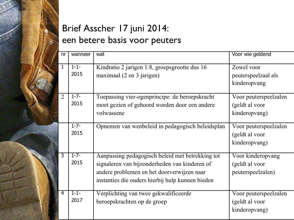 Brief Asscher 17 juni 2014: een betere basis voor peuters