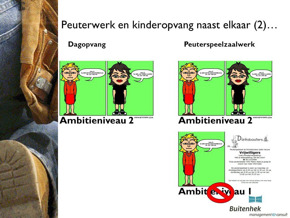 Peuterwerk en kinderopvang naast elkaar (2)… Dagopvang Peuterspeelzaalwerk Ambitieniveau 1 Ambitieniveau 2