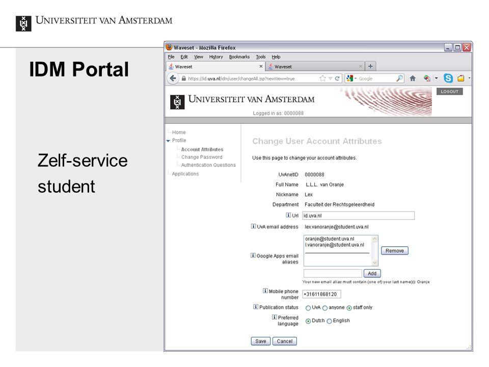 IDM Portal Identity en Access Management UvA, 2012-12-5 Zelf-service student