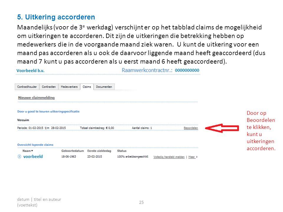 5. Uitkering accorderen Maandelijks (voor de 3 e werkdag) verschijnt er op het tabblad claims de mogelijkheid om uitkeringen te accorderen. Dit zijn d
