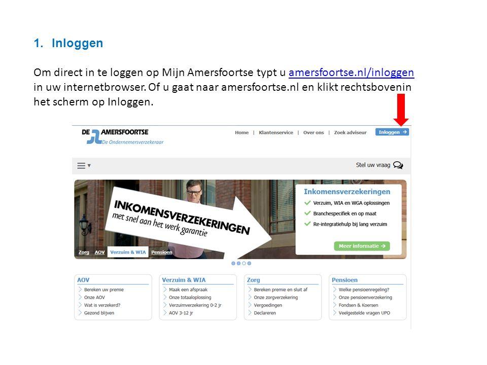 1.Inloggen Om direct in te loggen op Mijn Amersfoortse typt u amersfoortse.nl/inloggen in uw internetbrowser.