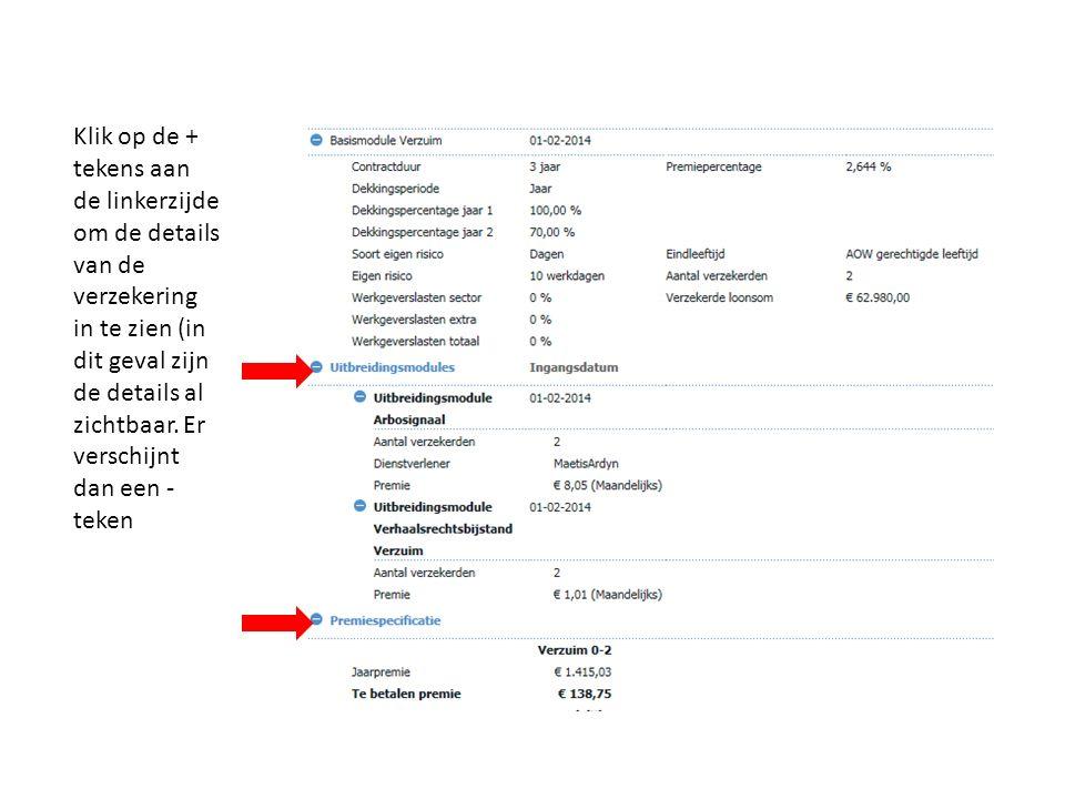 Klik op de + tekens aan de linkerzijde om de details van de verzekering in te zien (in dit geval zijn de details al zichtbaar.