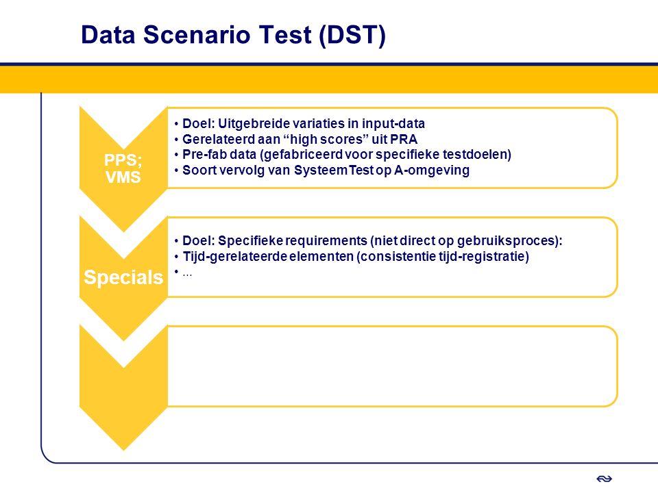 """Data Scenario Test (DST) PPS; VMS Doel: Uitgebreide variaties in input-data Gerelateerd aan """"high scores"""" uit PRA Pre-fab data (gefabriceerd voor spec"""