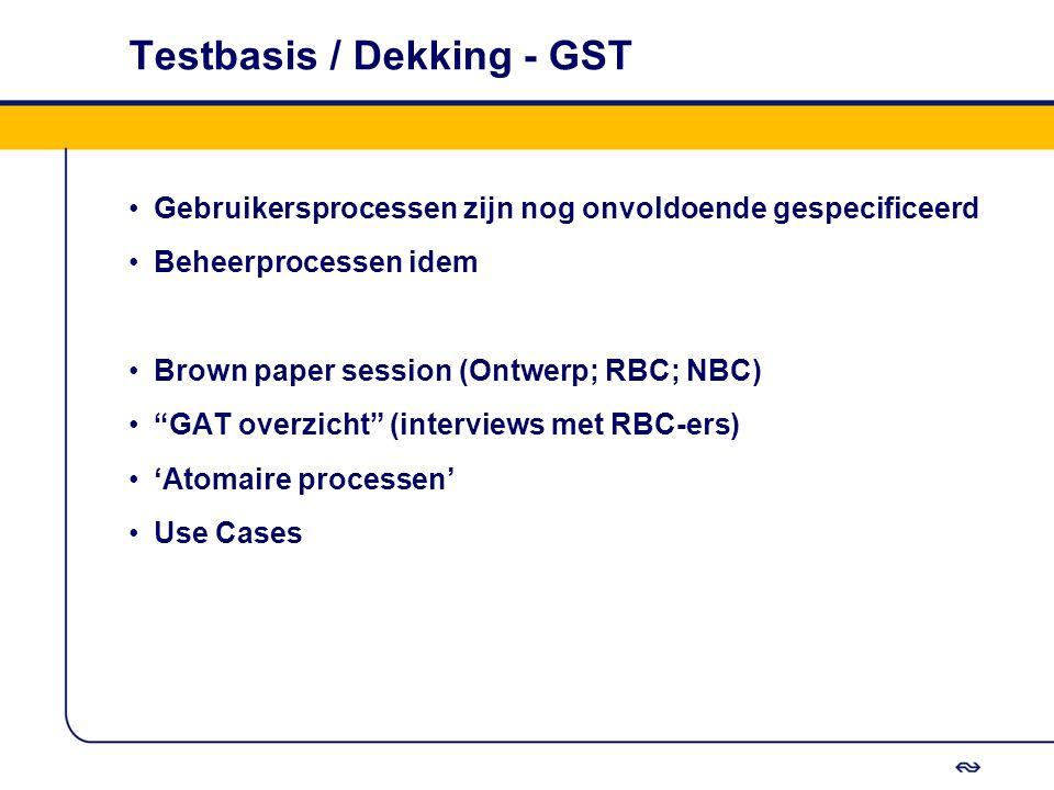 """Testbasis / Dekking - GST Gebruikersprocessen zijn nog onvoldoende gespecificeerd Beheerprocessen idem Brown paper session (Ontwerp; RBC; NBC) """"GAT ov"""