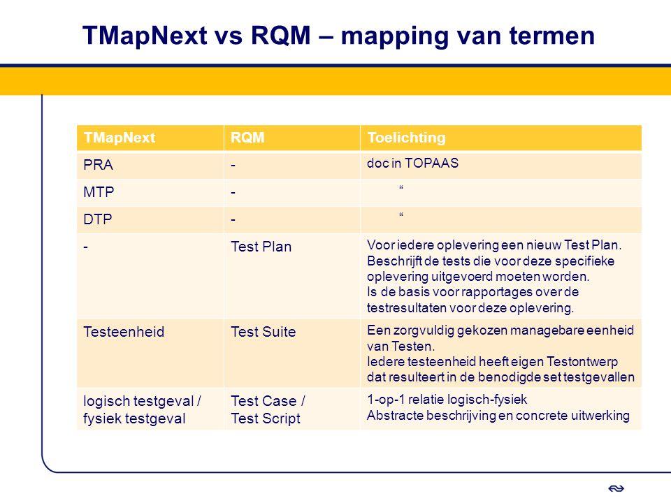 """TMapNext vs RQM – mapping van termen TMapNextRQMToelichting PRA- doc in TOPAAS MTP- """" DTP- """" -Test Plan Voor iedere oplevering een nieuw Test Plan. Be"""