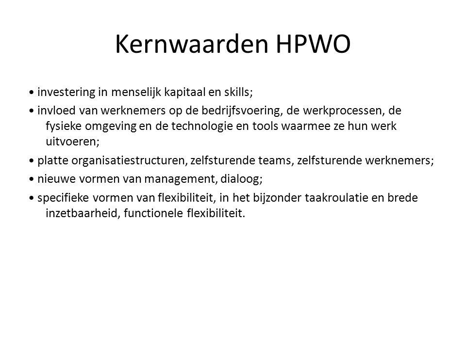 Kernwaarden HPWO investering in menselijk kapitaal en skills; invloed van werknemers op de bedrijfsvoering, de werkprocessen, de fysieke omgeving en de technologie en tools waarmee ze hun werk uitvoeren; platte organisatiestructuren, zelfsturende teams, zelfsturende werknemers; nieuwe vormen van management, dialoog; specifieke vormen van flexibiliteit, in het bijzonder taakroulatie en brede inzetbaarheid, functionele flexibiliteit.