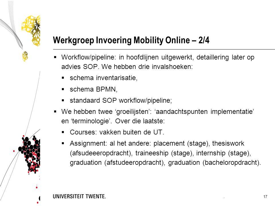 Werkgroep Invoering Mobility Online – 2/4  Workflow/pipeline: in hoofdlijnen uitgewerkt, detaillering later op advies SOP.