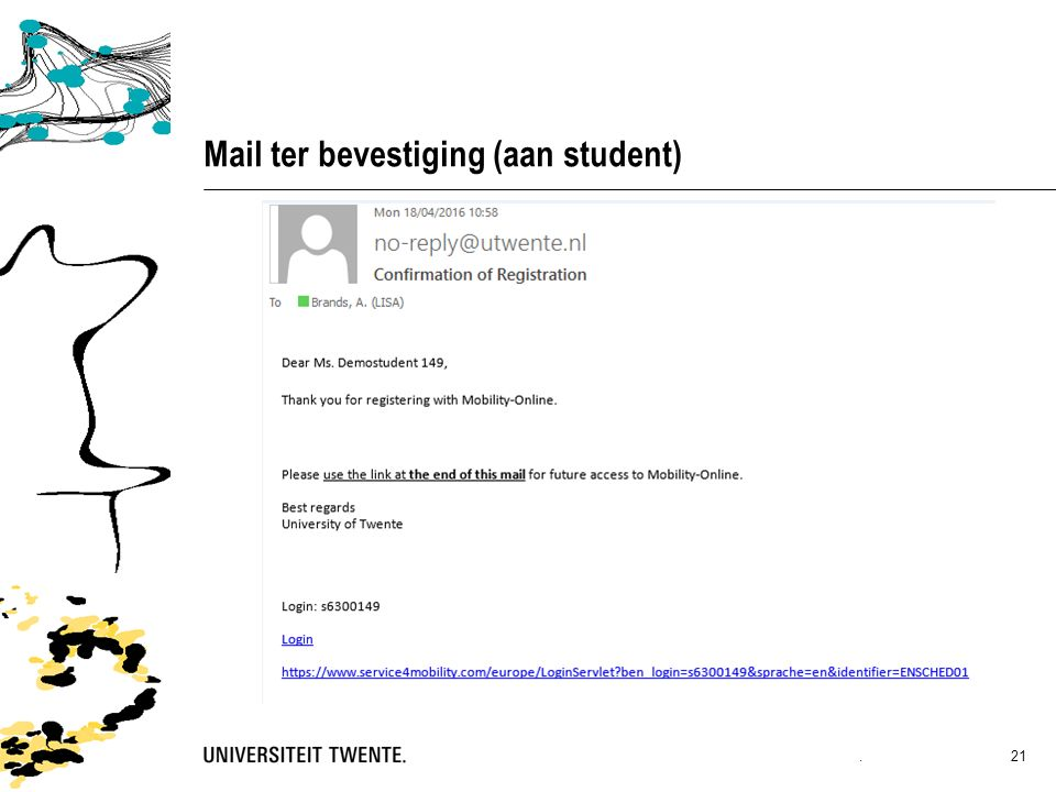 Mail ter bevestiging (aan student). 21