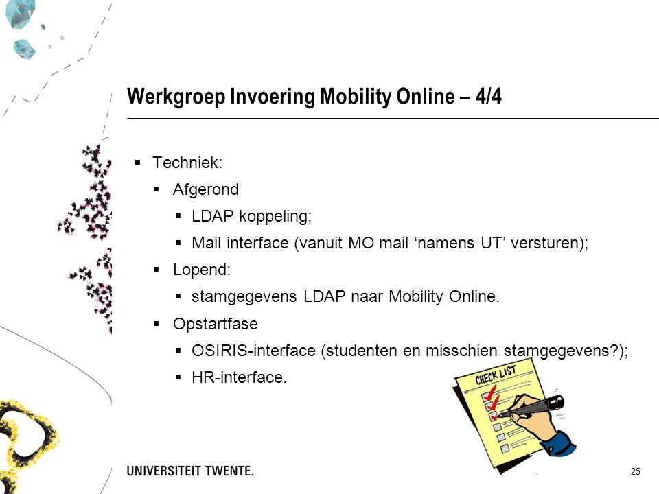 Werkgroep Invoering Mobility Online – 4/4  Techniek:  Afgerond  LDAP koppeling;  Mail interface (vanuit MO mail 'namens UT' versturen);  Lopend:  stamgegevens LDAP naar Mobility Online.
