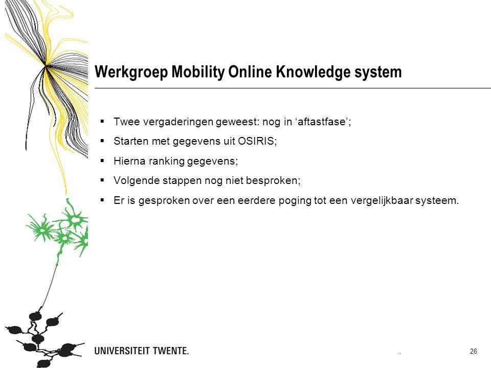 Werkgroep Mobility Online Knowledge system  Twee vergaderingen geweest: nog in 'aftastfase';  Starten met gegevens uit OSIRIS;  Hierna ranking gegevens;  Volgende stappen nog niet besproken;  Er is gesproken over een eerdere poging tot een vergelijkbaar systeem..