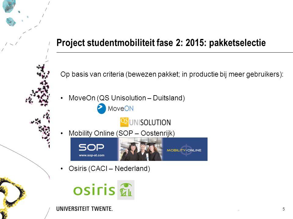 Project studentmobiliteit fase 2: 2015: pakketselectie Op basis van criteria (bewezen pakket; in productie bij meer gebruikers): MoveOn (QS Unisolution – Duitsland) Mobility Online (SOP – Oostenrijk) Osiris (CACI – Nederland).