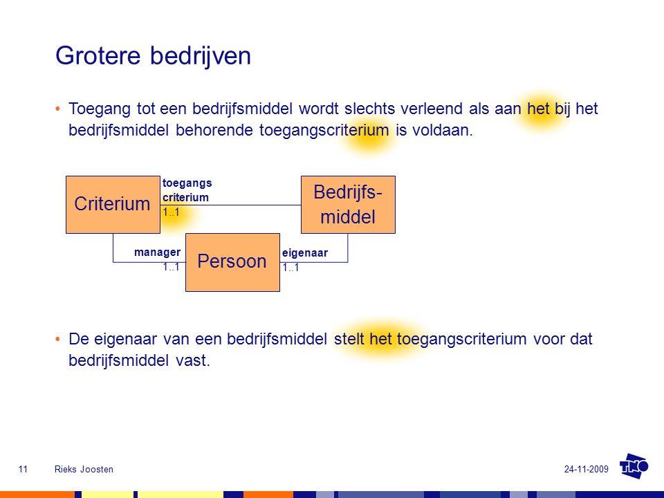 24-11-2009Rieks Joosten11 Bedrijfs- middel Criterium Persoon eigenaar 1..1 manager 1..1 toegangs criterium 1..1 Grotere bedrijven De eigenaar van een bedrijfsmiddel stelt het toegangscriterium voor dat bedrijfsmiddel vast.