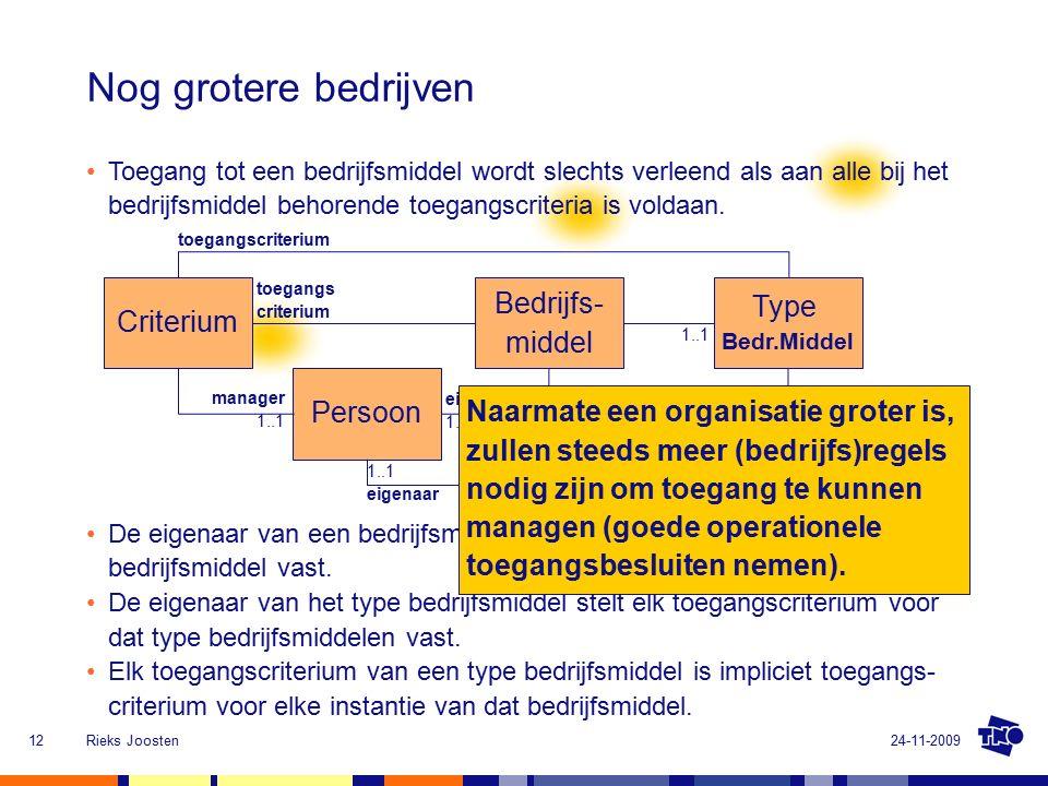 24-11-2009Rieks Joosten12 Nog grotere bedrijven Bedrijfs- middel Criterium toegangs criterium Persoon eigenaar 1..1 manager 1..1 De eigenaar van een bedrijfsmiddel stelt elk toegangscriterium voor dat bedrijfsmiddel vast.