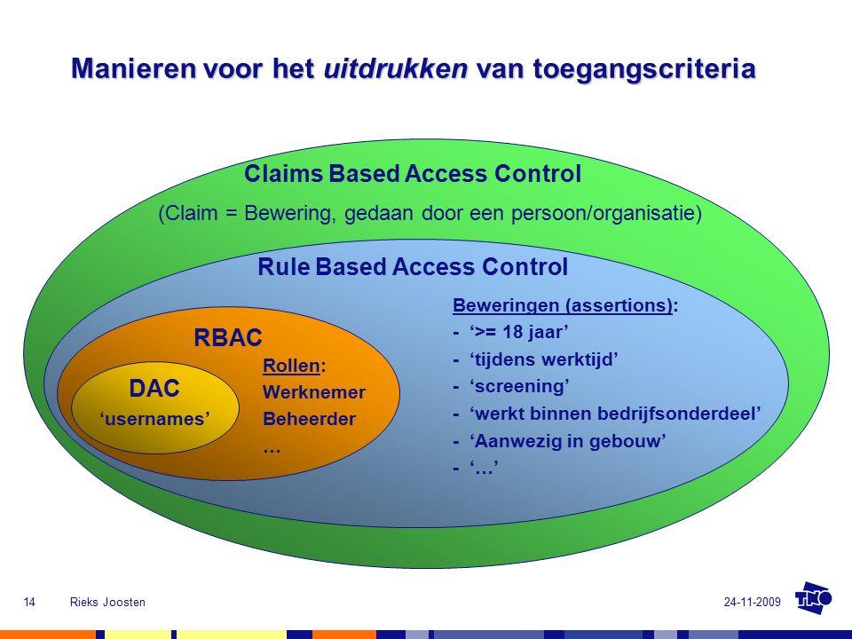 24-11-2009Rieks Joosten14 Manieren voor het uitdrukken van toegangscriteria RBAC DAC Rule Based Access Control - 'tijdens werktijd' 'usernames' Rollen: - '>= 18 jaar' - 'screening' - 'werkt binnen bedrijfsonderdeel' - 'Aanwezig in gebouw' - '…' Beweringen (assertions): Werknemer Beheerder … Claims Based Access Control (Claim = Bewering, gedaan door een persoon/organisatie)