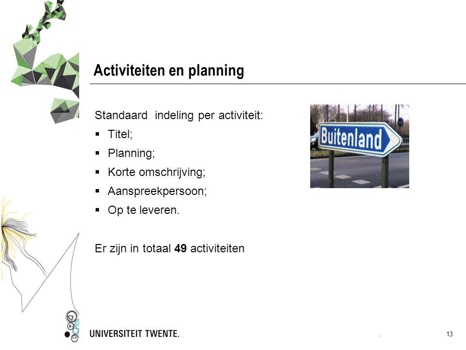 Activiteiten en planning Standaard indeling per activiteit:  Titel;  Planning;  Korte omschrijving;  Aanspreekpersoon;  Op te leveren. Er zijn in
