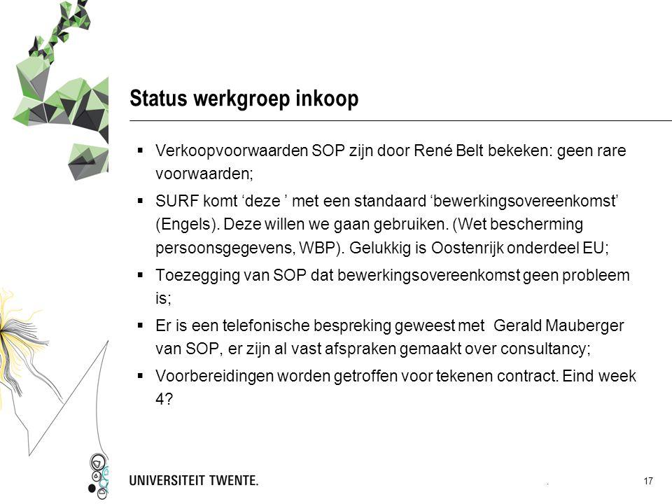 Status werkgroep inkoop  Verkoopvoorwaarden SOP zijn door René Belt bekeken: geen rare voorwaarden;  SURF komt 'deze ' met een standaard 'bewerkingsovereenkomst' (Engels).