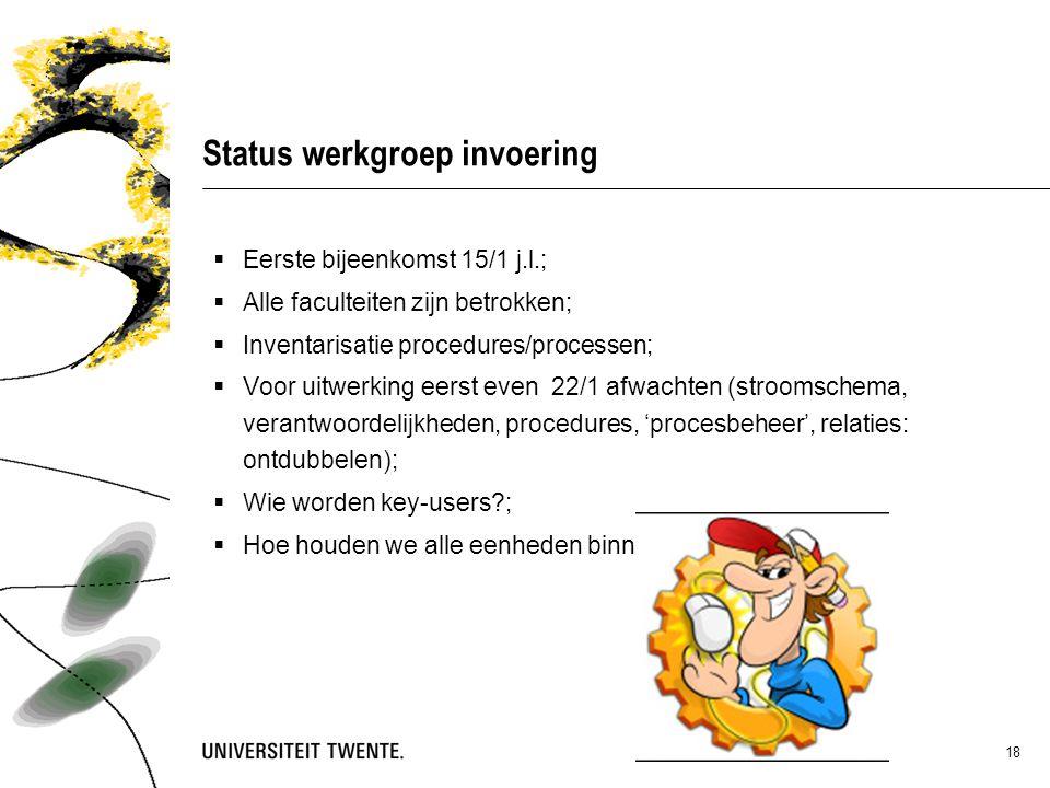 Status werkgroep invoering  Eerste bijeenkomst 15/1 j.l.;  Alle faculteiten zijn betrokken;  Inventarisatie procedures/processen;  Voor uitwerking eerst even 22/1 afwachten (stroomschema, verantwoordelijkheden, procedures, 'procesbeheer', relaties: ontdubbelen);  Wie worden key-users ;  Hoe houden we alle eenheden binnen boord..