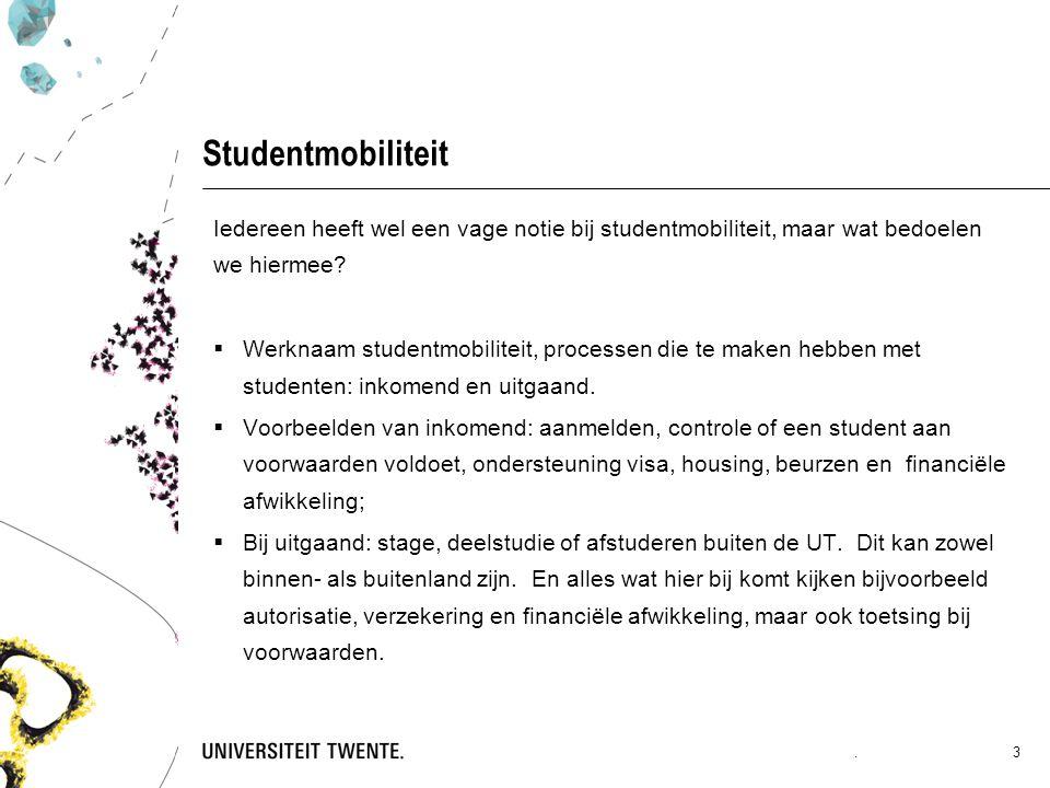 Studentmobiliteit Iedereen heeft wel een vage notie bij studentmobiliteit, maar wat bedoelen we hiermee?  Werknaam studentmobiliteit, processen die t