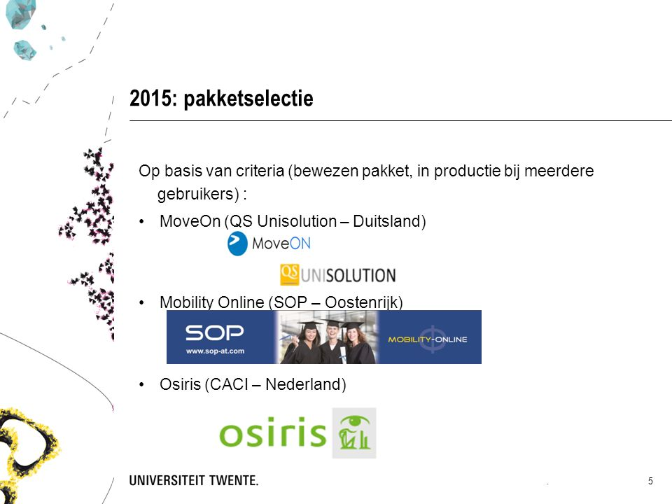 2015: pakketselectie Op basis van criteria (bewezen pakket, in productie bij meerdere gebruikers) : MoveOn (QS Unisolution – Duitsland) Mobility Online (SOP – Oostenrijk) Osiris (CACI – Nederland).