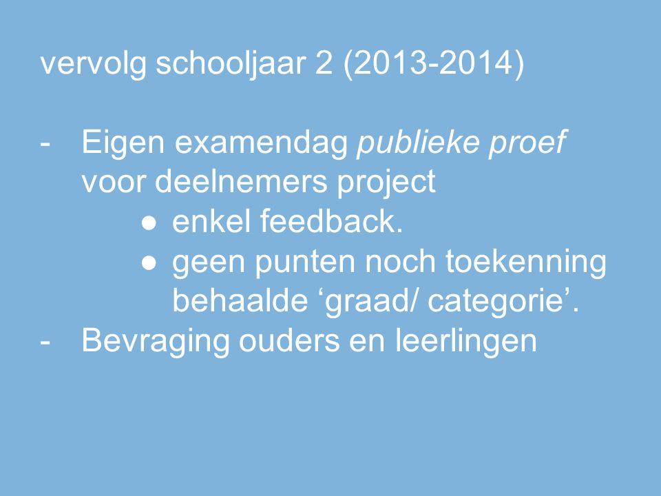 vervolg schooljaar 2 (2013-2014) -Eigen examendag publieke proef voor deelnemers project ●enkel feedback.