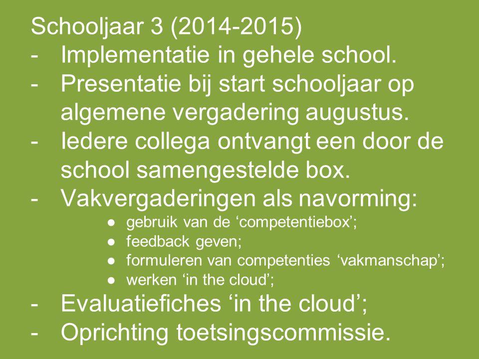 Schooljaar 3 (2014-2015) -Implementatie in gehele school.