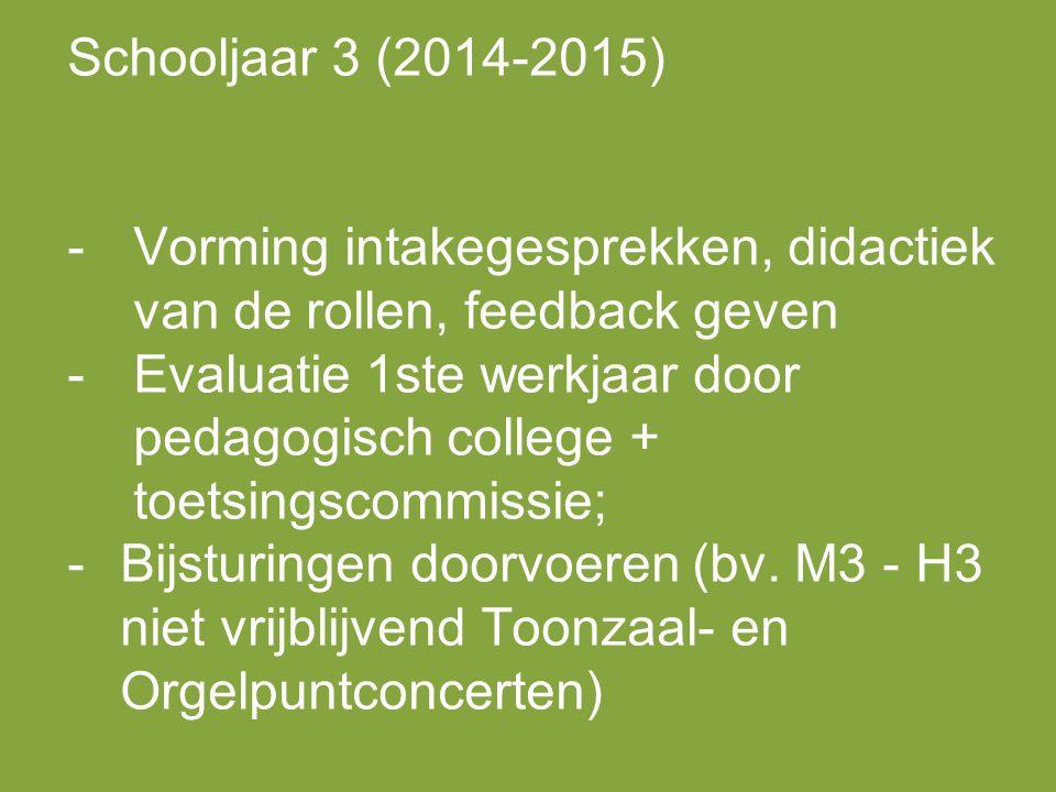 Schooljaar 3 (2014-2015) -Vorming intakegesprekken, didactiek van de rollen, feedback geven -Evaluatie 1ste werkjaar door pedagogisch college + toetsingscommissie; -Bijsturingen doorvoeren (bv.