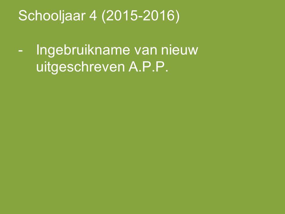Schooljaar 4 (2015-2016) -Ingebruikname van nieuw uitgeschreven A.P.P.