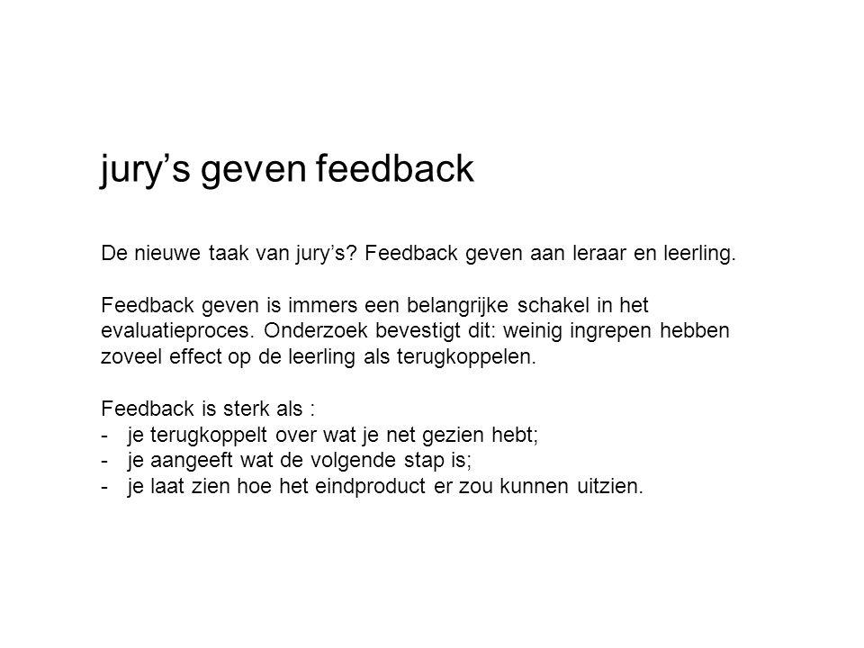 jury's geven feedback De nieuwe taak van jury's. Feedback geven aan leraar en leerling.
