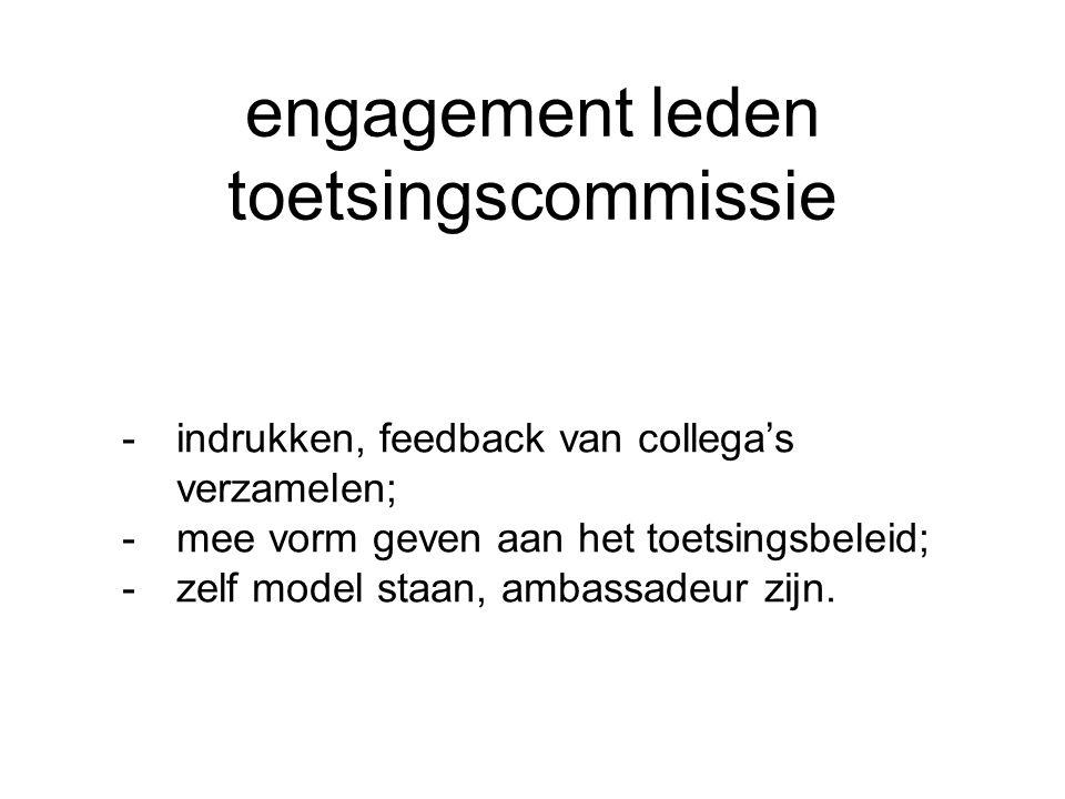 engagement leden toetsingscommissie -indrukken, feedback van collega's verzamelen; -mee vorm geven aan het toetsingsbeleid; -zelf model staan, ambassadeur zijn.