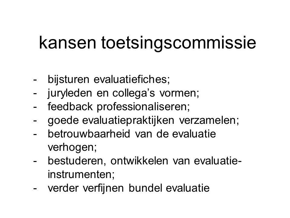 kansen toetsingscommissie -bijsturen evaluatiefiches; -juryleden en collega's vormen; -feedback professionaliseren; -goede evaluatiepraktijken verzamelen; -betrouwbaarheid van de evaluatie verhogen; -bestuderen, ontwikkelen van evaluatie- instrumenten; -verder verfijnen bundel evaluatie