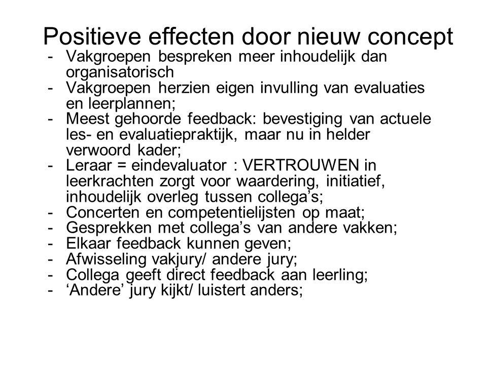 Positieve effecten door nieuw concept -Vakgroepen bespreken meer inhoudelijk dan organisatorisch -Vakgroepen herzien eigen invulling van evaluaties en leerplannen; -Meest gehoorde feedback: bevestiging van actuele les- en evaluatiepraktijk, maar nu in helder verwoord kader; -Leraar = eindevaluator : VERTROUWEN in leerkrachten zorgt voor waardering, initiatief, inhoudelijk overleg tussen collega's; -Concerten en competentielijsten op maat; -Gesprekken met collega's van andere vakken; -Elkaar feedback kunnen geven; -Afwisseling vakjury/ andere jury; -Collega geeft direct feedback aan leerling; -'Andere' jury kijkt/ luistert anders;