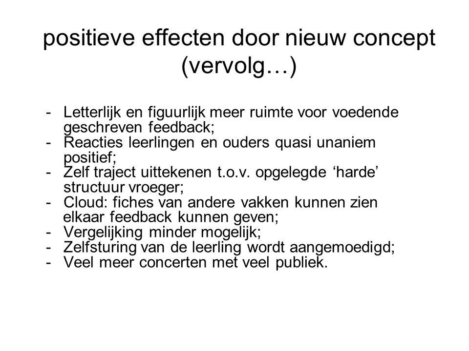 positieve effecten door nieuw concept (vervolg…) -Letterlijk en figuurlijk meer ruimte voor voedende geschreven feedback; -Reacties leerlingen en ouders quasi unaniem positief; -Zelf traject uittekenen t.o.v.