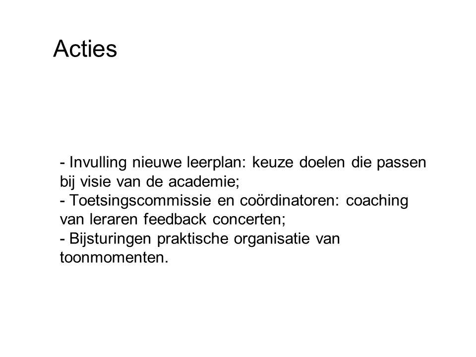 Acties - Invulling nieuwe leerplan: keuze doelen die passen bij visie van de academie; - Toetsingscommissie en coördinatoren: coaching van leraren feedback concerten; - Bijsturingen praktische organisatie van toonmomenten.
