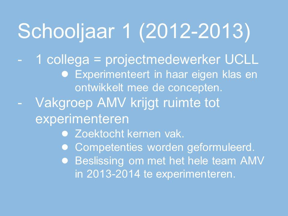 Schooljaar 1 (2012-2013) -1 collega = projectmedewerker UCLL ● Experimenteert in haar eigen klas en ontwikkelt mee de concepten.