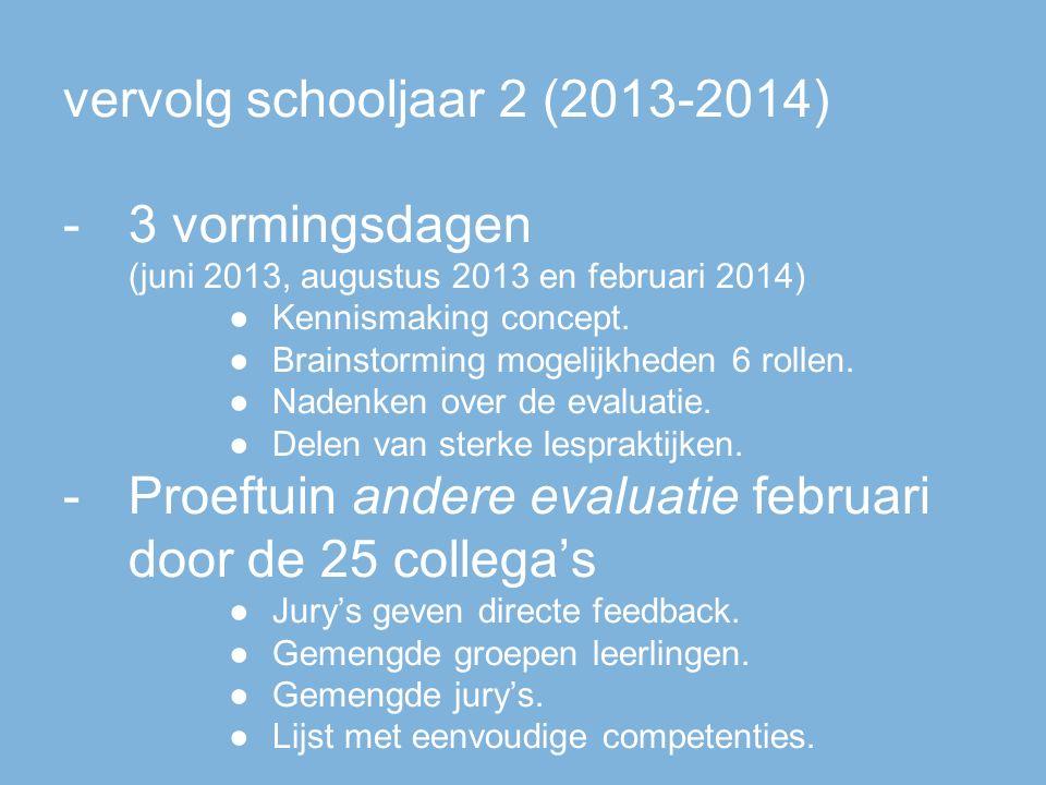vervolg schooljaar 2 (2013-2014) -3 vormingsdagen (juni 2013, augustus 2013 en februari 2014) ●Kennismaking concept.