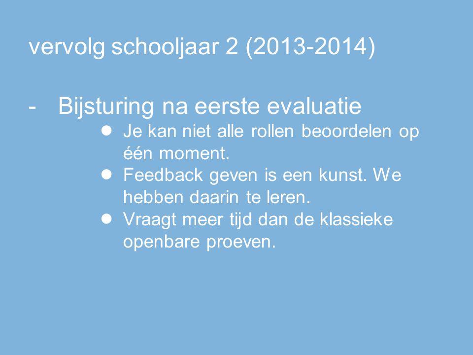 vervolg schooljaar 2 (2013-2014) -Bijsturing na eerste evaluatie ● Je kan niet alle rollen beoordelen op één moment.