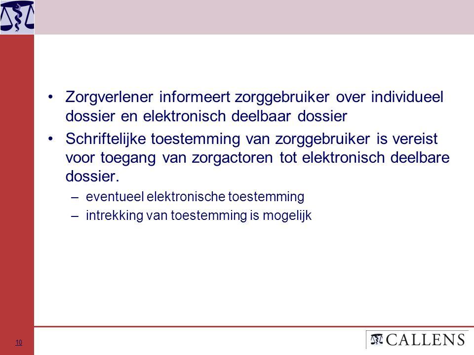 Zorgverlener informeert zorggebruiker over individueel dossier en elektronisch deelbaar dossier Schriftelijke toestemming van zorggebruiker is vereist voor toegang van zorgactoren tot elektronisch deelbare dossier.