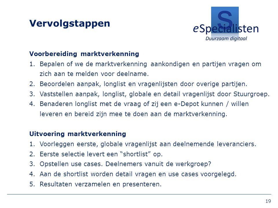 Vervolgstappen Voorbereiding marktverkenning 1.Bepalen of we de marktverkenning aankondigen en partijen vragen om zich aan te melden voor deelname.