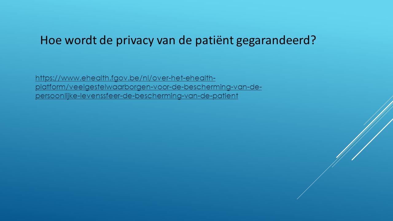 https://www.ehealth.fgov.be/nl/over-het-ehealth- platform/veelgestelwaarborgen-voor-de-bescherming-van-de- persoonlijke-levenssfeer-de-bescherming-van-de-patient Hoe wordt de privacy van de patiënt gegarandeerd