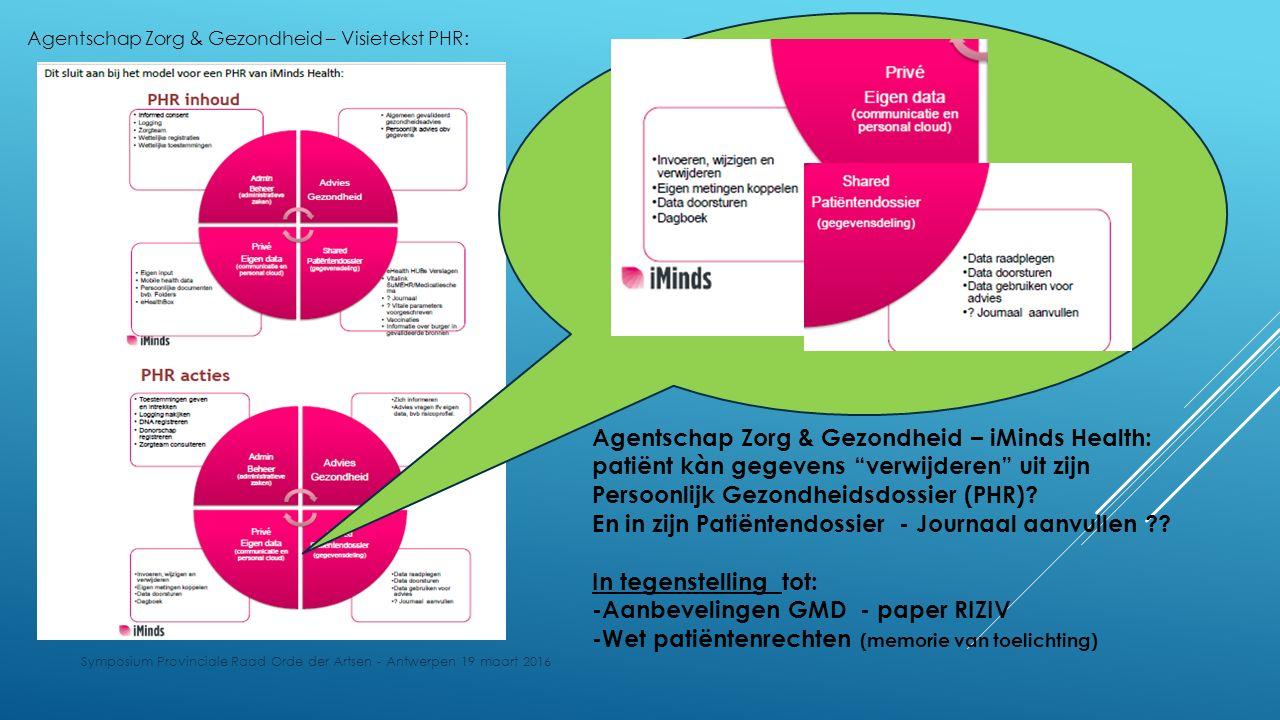 Symposium Provinciale Raad Orde der Artsen - Antwerpen 19 maart 2016 Agentschap Zorg & Gezondheid – iMinds Health: patiënt kàn gegevens verwijderen uit zijn Persoonlijk Gezondheidsdossier (PHR).