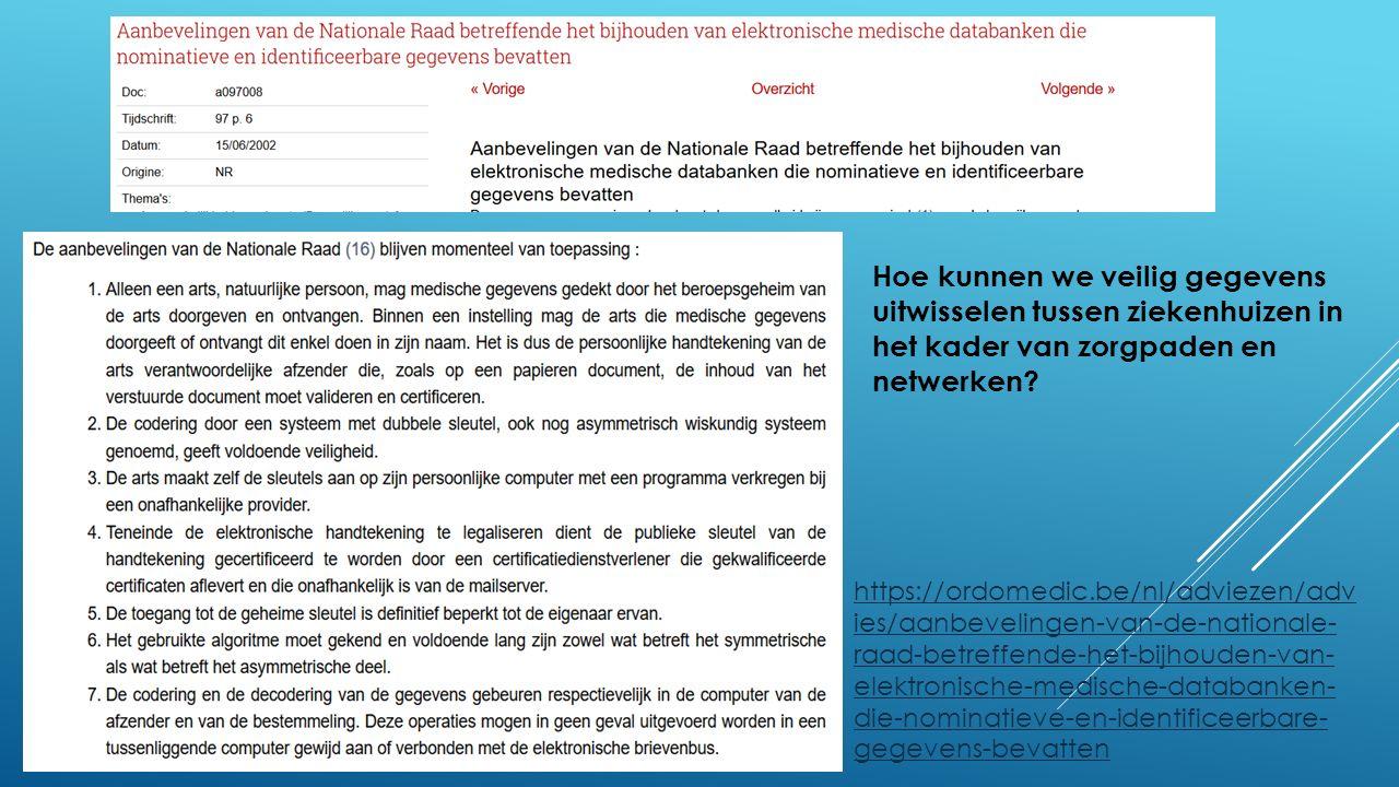https://ordomedic.be/nl/adviezen/adv ies/aanbevelingen-van-de-nationale- raad-betreffende-het-bijhouden-van- elektronische-medische-databanken- die-nominatieve-en-identificeerbare- gegevens-bevatten Hoe kunnen we veilig gegevens uitwisselen tussen ziekenhuizen in het kader van zorgpaden en netwerken