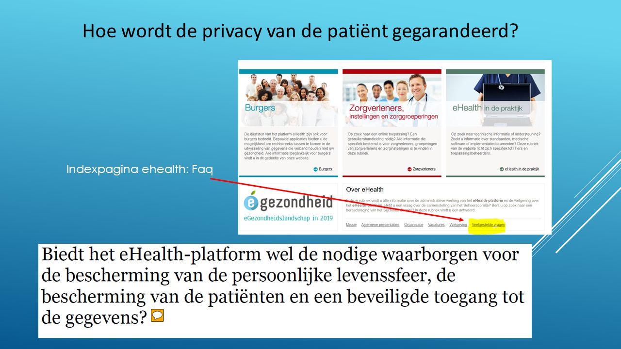 Hoe wordt de privacy van de patiënt gegarandeerd Indexpagina ehealth: Faq