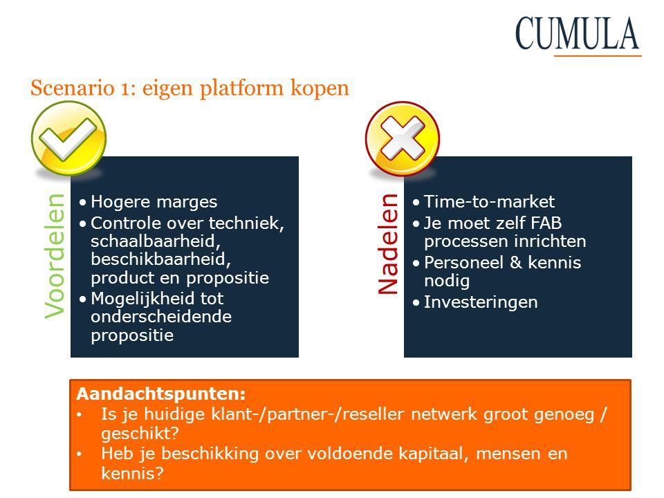 Scenario 1: eigen platform kopen Voordelen Hogere marges Controle over techniek, schaalbaarheid, beschikbaarheid, product en propositie Mogelijkheid t