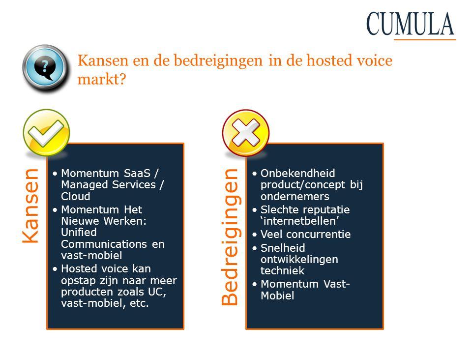 Kansen en de bedreigingen in de hosted voice markt? Kansen Momentum SaaS / Managed Services / Cloud Momentum Het Nieuwe Werken: Unified Communications