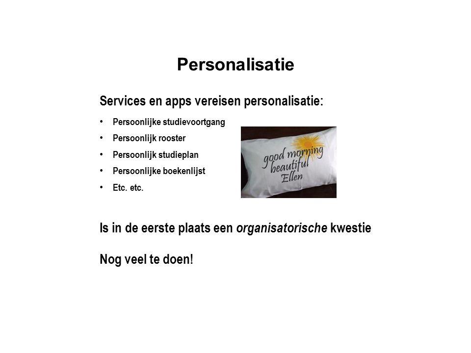 Personalisatie Services en apps vereisen personalisatie: Persoonlijke studievoortgang Persoonlijk rooster Persoonlijk studieplan Persoonlijke boekenli