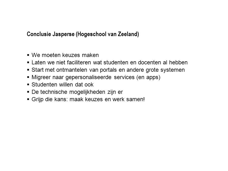 Conclusie Jasperse (Hogeschool van Zeeland)  We moeten keuzes maken  Laten we niet faciliteren wat studenten en docenten al hebben  Start met ontma