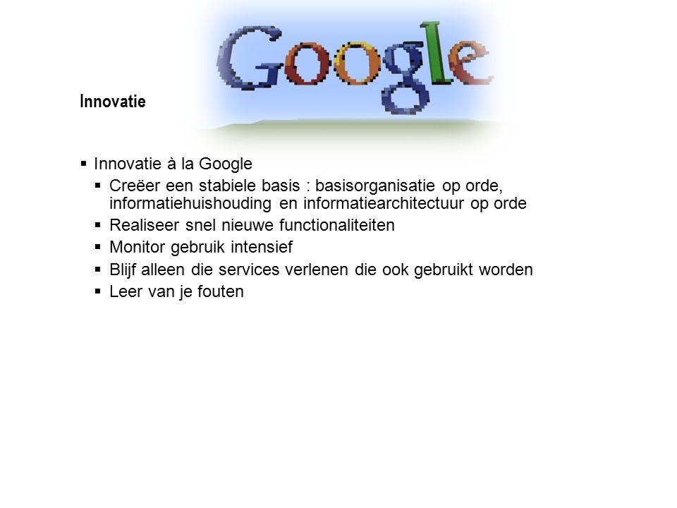 Innovatie  Innovatie à la Google  Creëer een stabiele basis : basisorganisatie op orde, informatiehuishouding en informatiearchitectuur op orde  Re