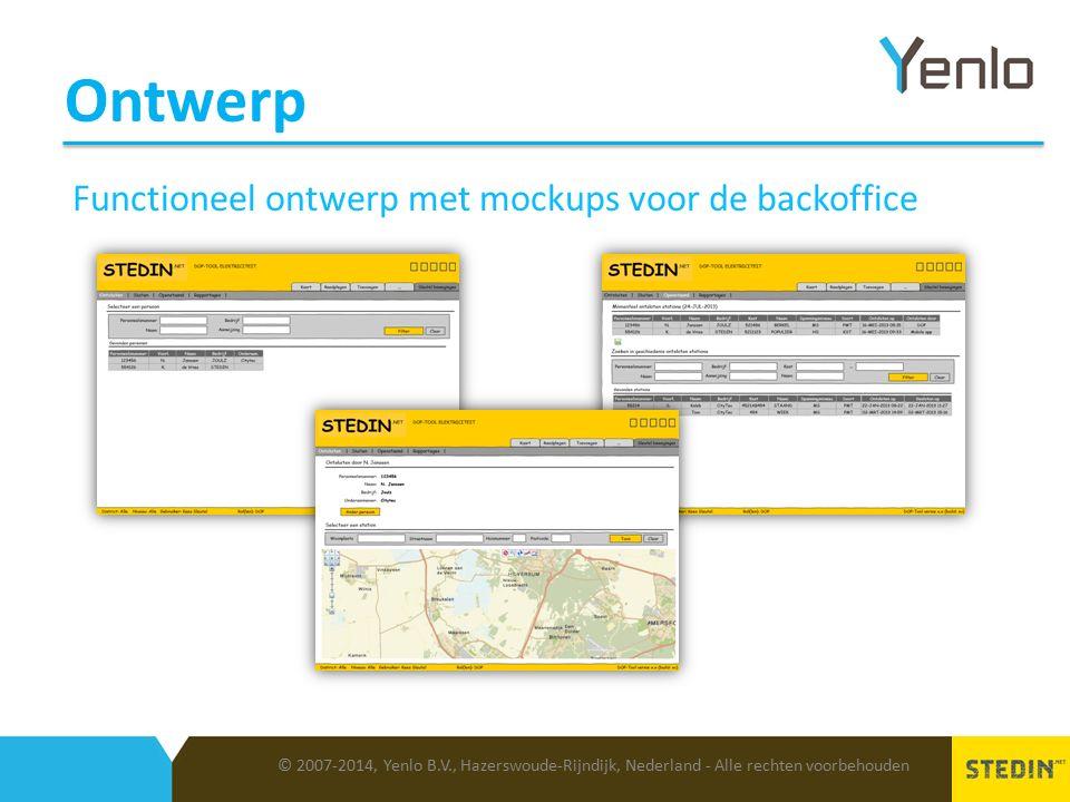 Ontwerp © 2007-2014, Yenlo B.V., Hazerswoude-Rijndijk, Nederland - Alle rechten voorbehouden Functioneel ontwerp met mockups voor de backoffice